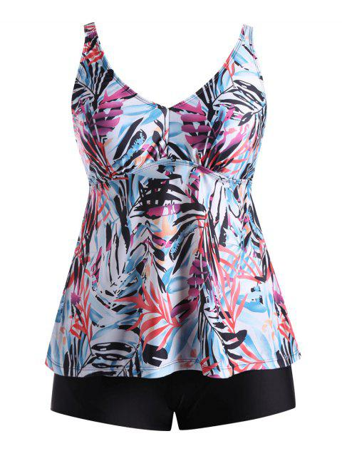 best Plus Size Multi Color Printed Blouson Tankini Set - FLORAL XL Mobile