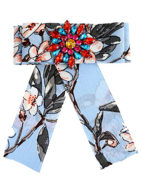 trendy Rhinestone Floral Embellished Bow Brooch - LAKE BLUE  Mobile