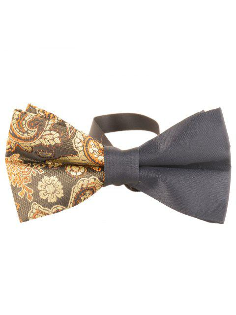 fashion Unique Asymmetric Cashew Pattern Embellished Bowtie - YELLOW  Mobile
