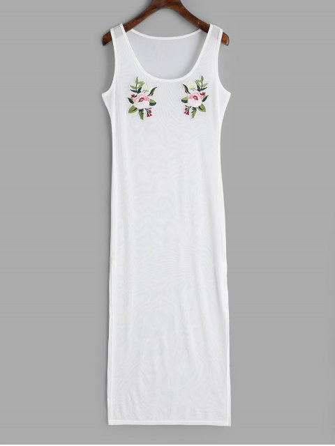 unique Applique Slit Sheer Cover-up Dress - WHITE S Mobile