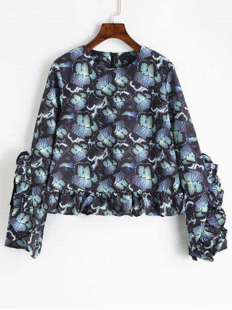 women Back Zipper Flower Ruffle Blouse - FLORAL S Mobile