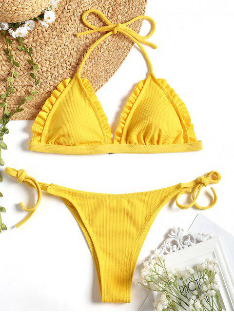 ladies Ribbed Frayed Hem String Bikini Set - YELLOW L Mobile