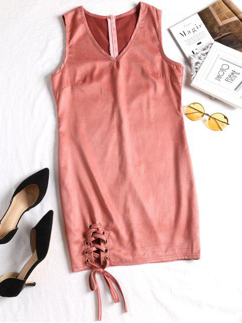 buy Faux Suede Lace Up Mini Dress - NUDE PINK S Mobile