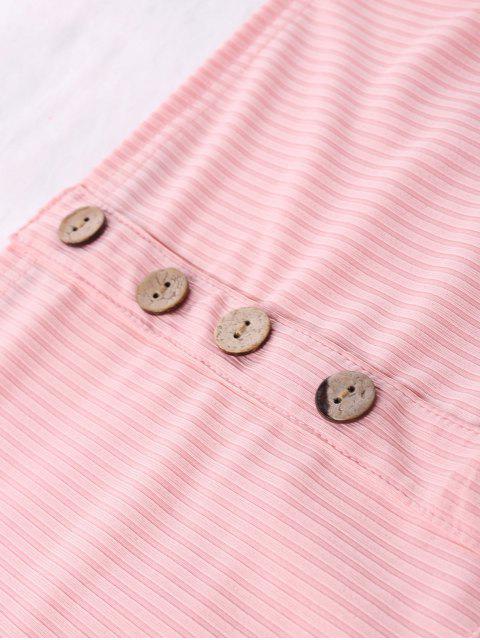 Geripptes Crop Top Und Weites Bein Shorts - Rosa XL Mobile