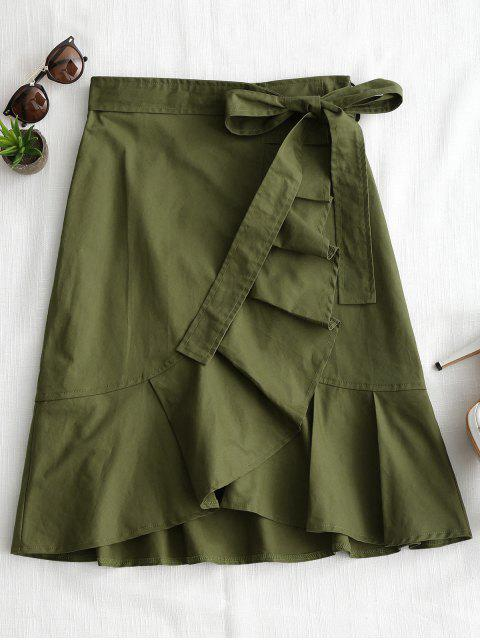 hot High Waist Ruffle Hem Belted Skirt - ARMY GREEN S Mobile