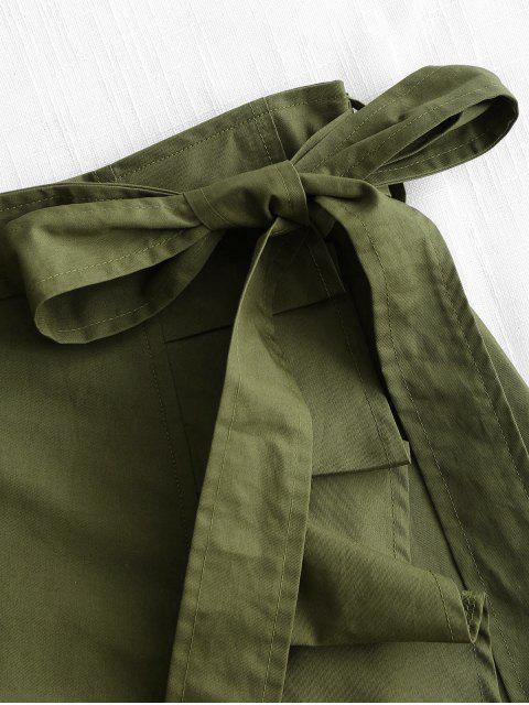 Falda con cinturón y dobladillo de cintura alta - Ejercito Verde S Mobile