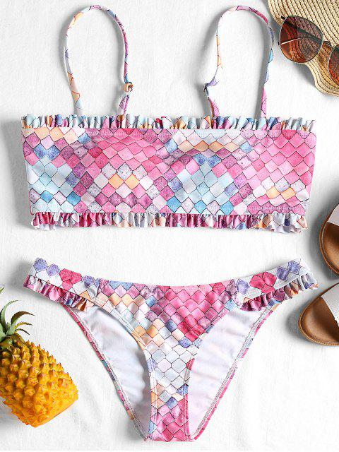 Bikini bandeau con volantes de colores - Colorido Geometrico XL Mobile