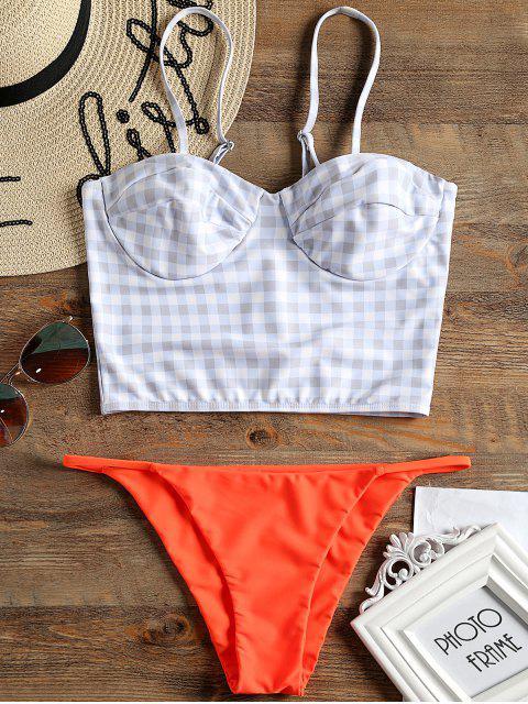 Kariertes Bügel Mieder Bikini Set - Roter Zirkon M Mobile