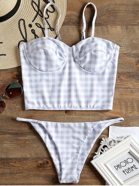 womens Plaid Underwire Bustier Bikini Set - CHECKED M Mobile