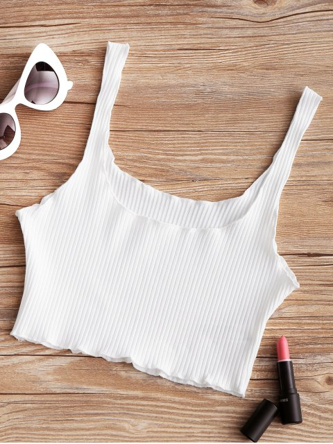 new Piped Ribbed Cropped Tank Top - WHITE ONE SIZE Mobile