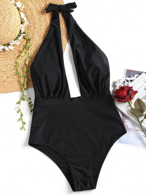 online Low Cut High Waisted One Piece Swimsuit - BLACK M Mobile
