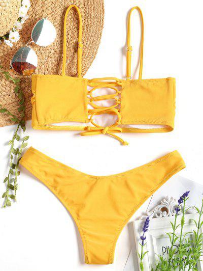 Cami Padded Back Lace Up Bikini - Mustard S