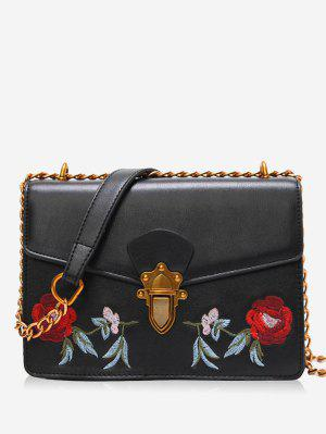 Faux Leather Flower Embroidered Crossbody Bag