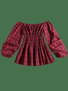 A Cuadros Blusa Fruncidos Comprobado S Con Hombros wqqR1Ptv