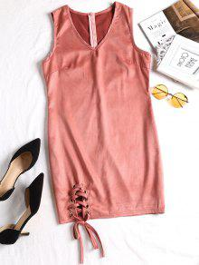 فستان مصغر سويدي اصطناعي رباط - عارية الوردي S