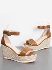 1439fd3bb30 36% OFF  2019 Ankle Strap Wedge Heel Sandals In BROWN