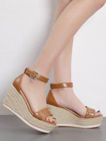 dd61e0de4c6 36% OFF  2019 Ankle Strap Wedge Heel Sandals In BROWN