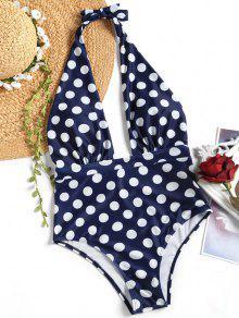 لباس سباحة بأربطة مزين بنقط - أزرق Xl