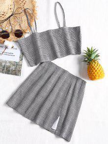 Bralette Plaid Top and Slit Mini Skirt Set