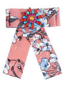 حجر الراين الزهور مزين القوس بروش - زهري