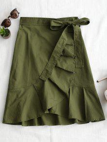 تنورة مربوط عالية الخصر كشكش الحاشية - الجيش الأخضر L