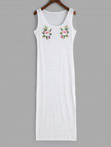 فستان مشبك مزين بأزهار ذو شق جانبي - أبيض S