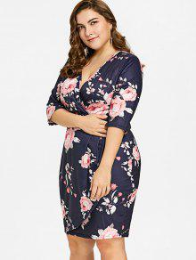 Plus Size Floral Print Plunge Dress FLORAL: Plus Size Dresses 3XL ...
