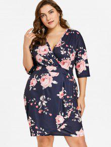 فستان غارق طباعة الأزهار الحجم الكبير - الأزهار 3xl