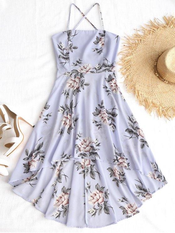 فستان طباعة الأزهار عالية انخفاض كامي - الأزهار L