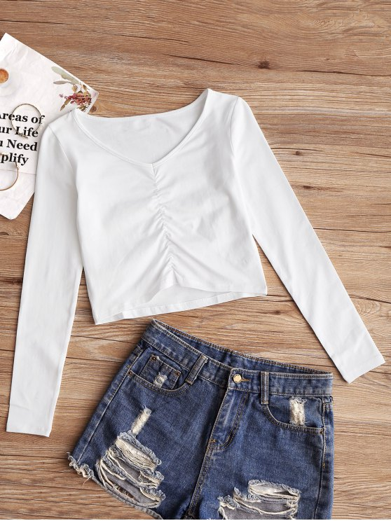 best Gathered Ruched Top - WHITE M
