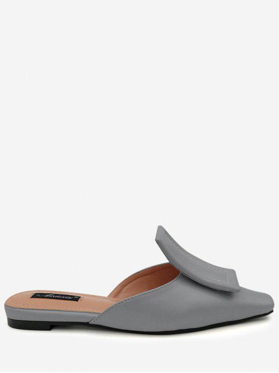 Narrow Square Toe Mules Shoes - Cinza 36