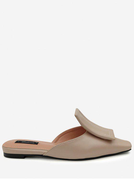 best Narrow Square Toe Mules Shoes - APRICOT 37