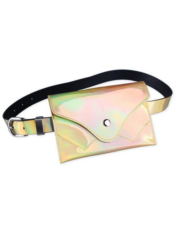 حزام من الجلد الاصطناعي اللامع مع حقيبة - ذهبي