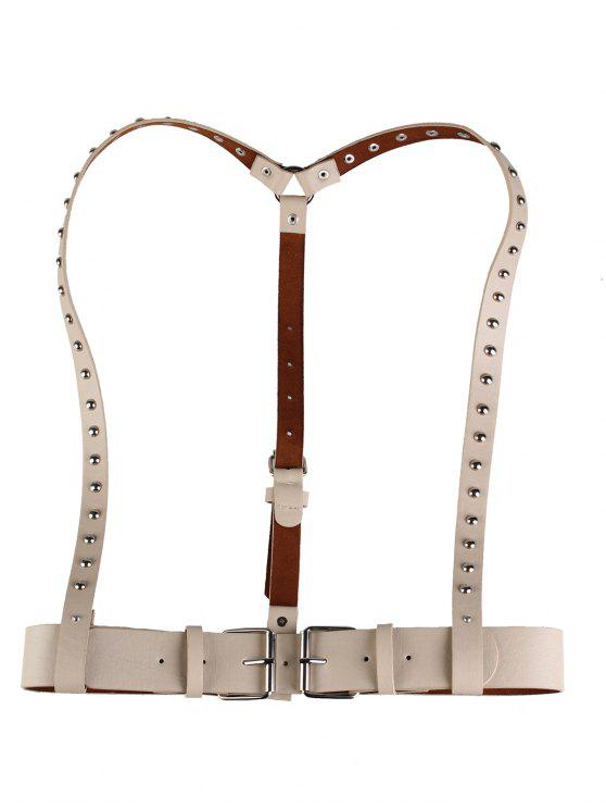 fashion Rivet Embellished Punk Harness Faux Leather Belt - KHAKI