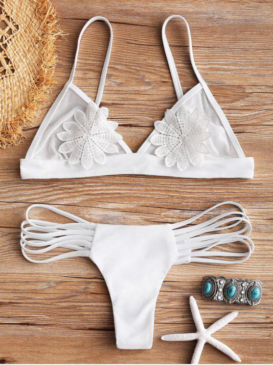 Bikini en Ensemble Ensemble avec Lanières et Motif Floral - Blanc S