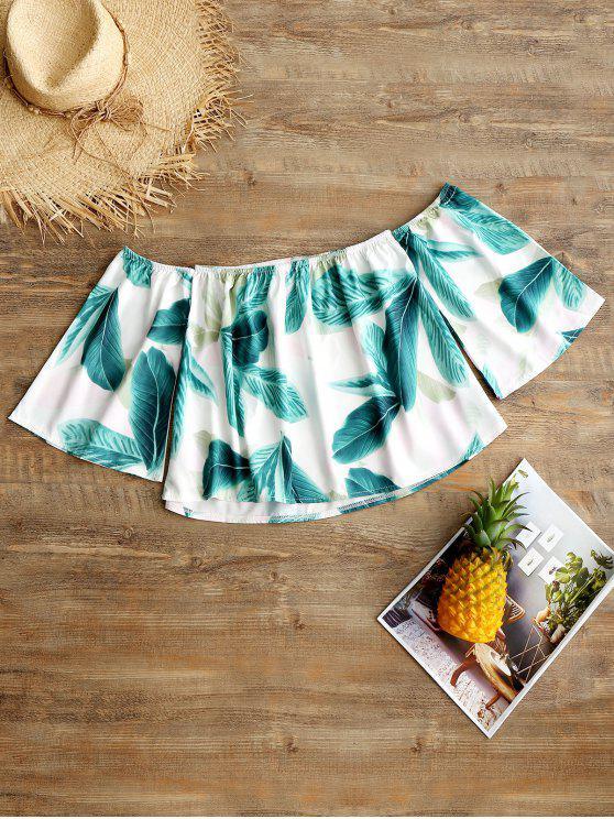 Blusa sin hombros con estampado de hojas en los hombros - Blanco S