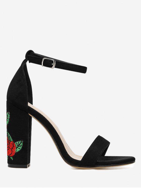 Sandálias de tiras de tornozelo com bordados florais - Preto 37