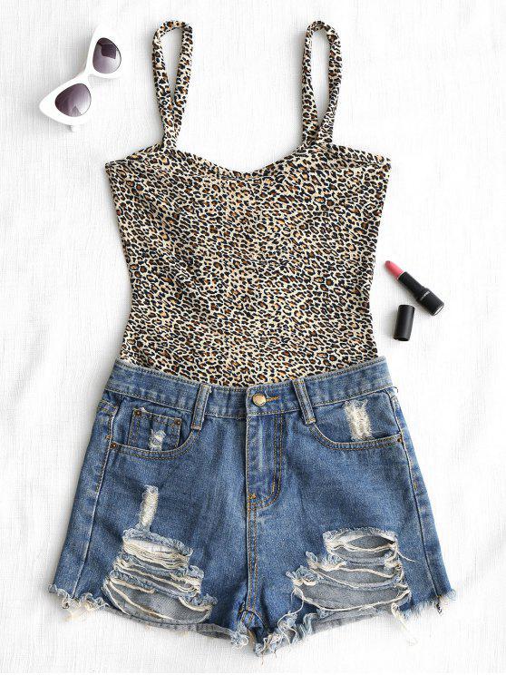 Leopard Print rückenfreie Cami Bodysuit - Leopard Print Muster S
