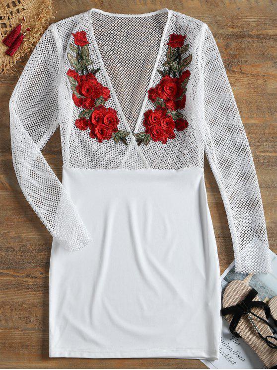 Robe Transparente Effet Filet à Patch Floral - Blanc M