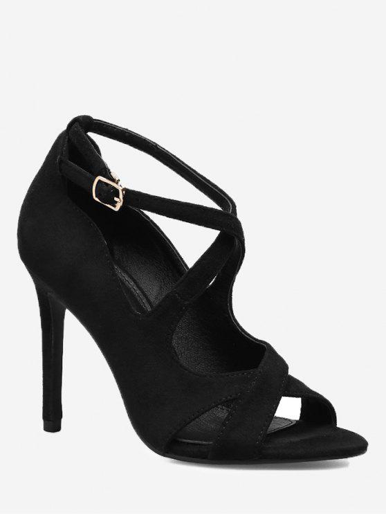 Sandálias de salto stiletto entrecruzadas - Preto 36