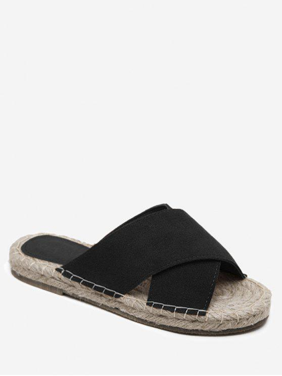 trendy Whipstitch Cross Outdoor Casual Slippers - BLACK 38