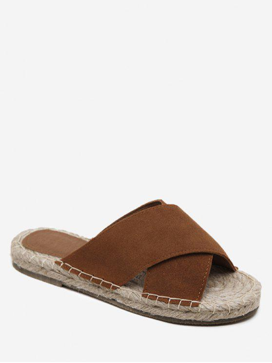 women's Whipstitch Cross Outdoor Casual Slippers - BROWN 35