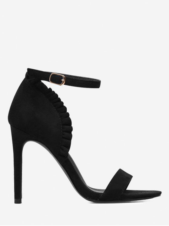 online Ruffles Trim Ankle Strap Sandals - BLACK 39