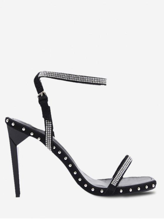 fancy Ankle Strap High Stiletto Heel Sandals - BLACK 39