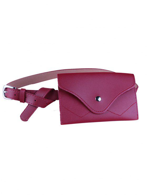 women's Removable Fanny Pack Faux Leather Skinny Belt - RED