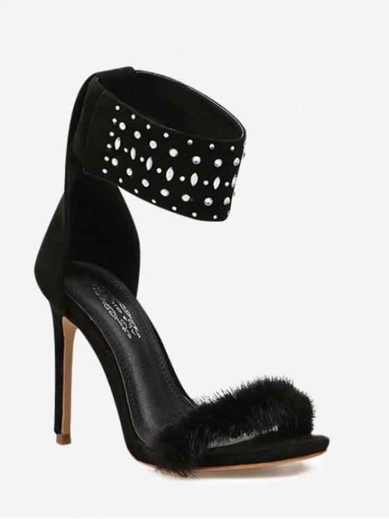 Bracelete de tornozelo macio Sandália de vestidos de dedo adiante - Preto 37