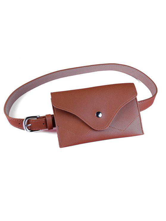 outfit Removable Fanny Pack Faux Leather Skinny Belt - CHOCOLATE
