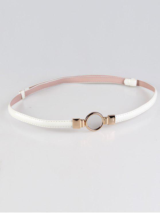 Cinturón pitillo adornado con hebilla redonda de metal - Blanco