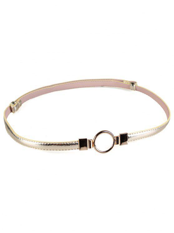 buy Metal Round Buckle Embellished Skinny Belt - GOLDEN