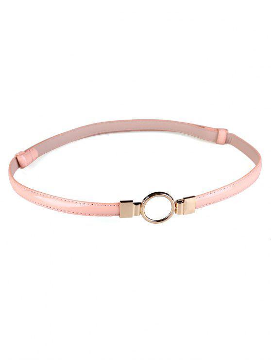 Cintura Sottile Decorata Con Fibbia Tonda In Metallo - Rosa